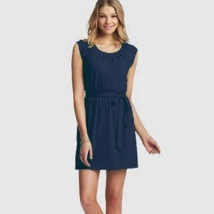 NEW LOFT Navy Pintucked Tie Waist Cotton Dress